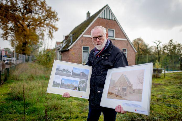 Gerard Vaanholt van de Historische Kring, samensteller van de fototentoonstelling 'De Veldmaat terug in de tijd'.