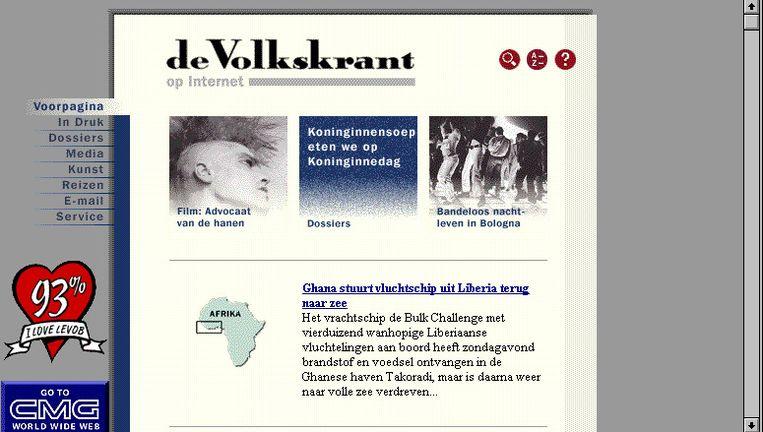 Schermafbeelding uit de begindagen van volkskrant.nl: iedere ochtend afwachten of het gelukt was de papieren krant van de dag ervoor over te zetten op het internet. Beeld
