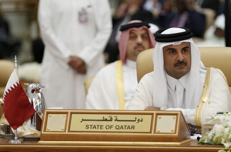 Tamim bin Hamad al-Thani, de emir van Qatar, tijdens een internationale regeringstop in Riyadh in 2015. Beeld REUTERS