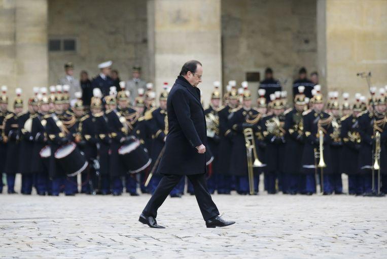President Hollande gedurende de herdenking van de slachtoffers van de terreuraanslagen in Parijs. Beeld afp