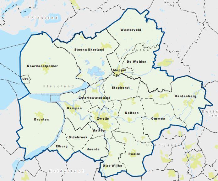 Het economisch gebied van de regio Zwolle volgens Stichting Metropool Zwolle.