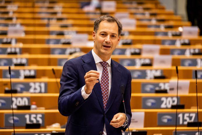 Premier Alexander De Croo tijdens het debat na de regeerverklaring.