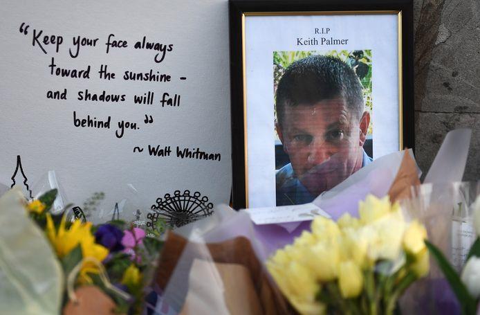 Politieman Keith Palmer kwam om het leven bij een terreuraanslag bij het parlementsgebouw in Londen, in maart 2017.