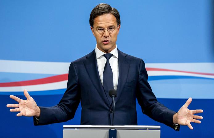 Premier Mark Rutte tijdens een persconferentie na afloop van de wekelijkse ministerraad.