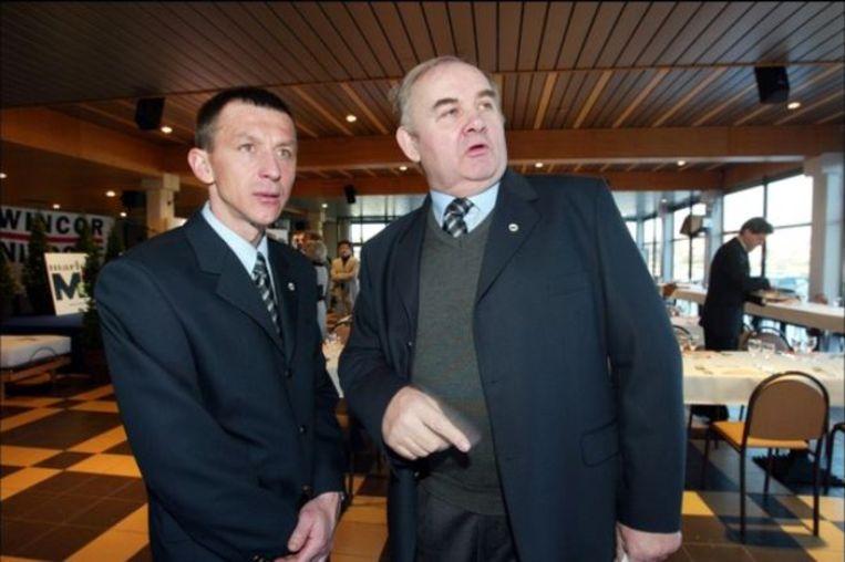 Januari 2003: Braeckevelt met Tchmil op de voorstelling van Marlux-Wincor-Nixdorf  in Charleroi.