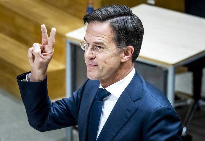 Premier Mark Rutte wordt gehoord.