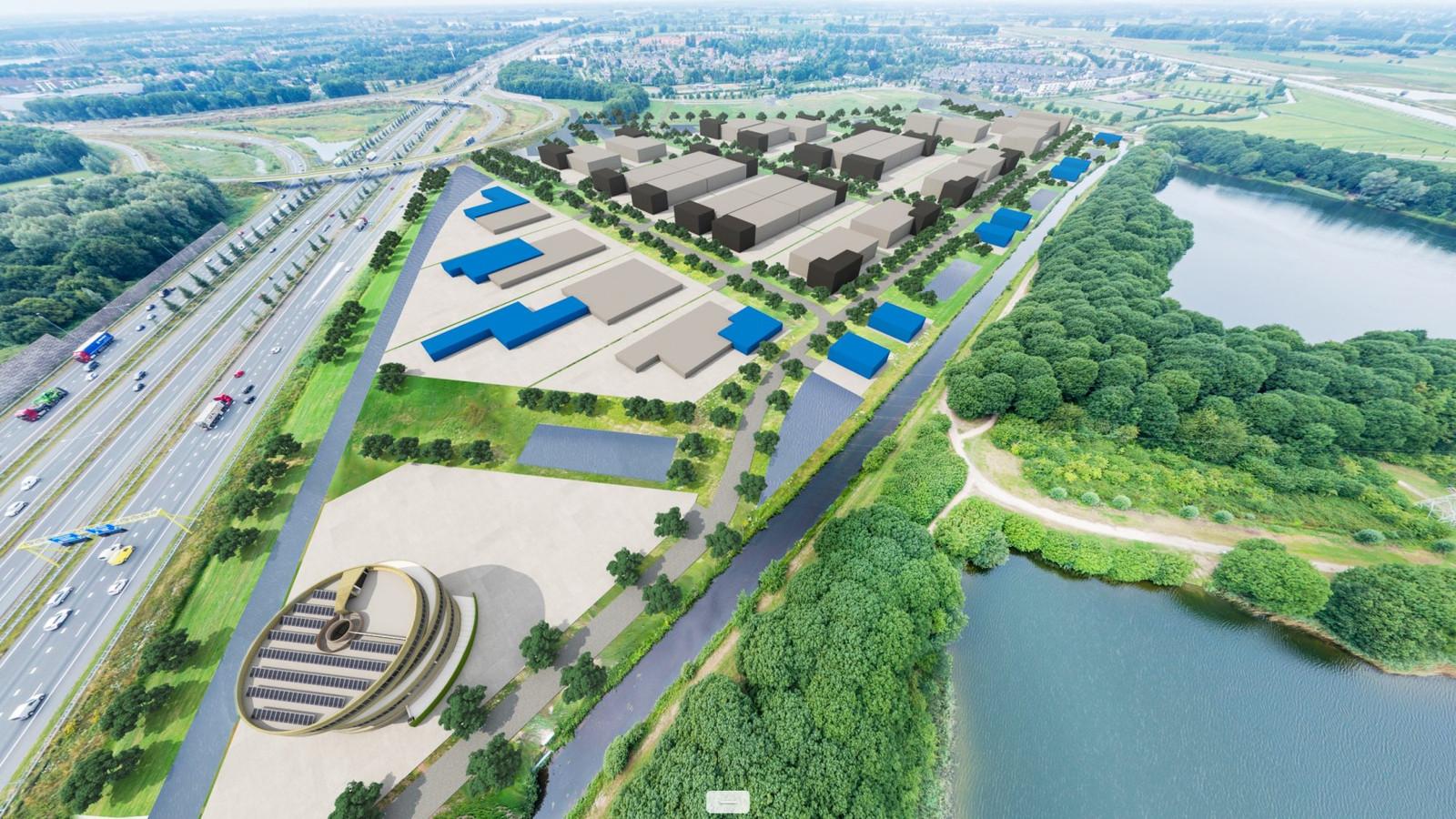 Visualisatie van bedrijventerrein Rosmalense Plas langs de A2 bij Empel. De groene strook daarboven is Empel-Zuid.