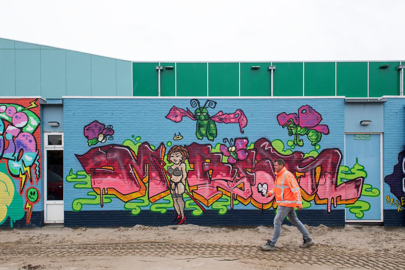Op het zwembad prijkt sinds zaterdag een enorm graffiti kunstwerk. Dat is goed te zien vanaf de Rivierenlandlaan en de Laan van Westroijen.
