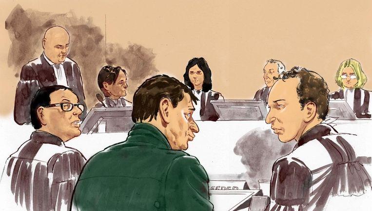 Rechtbanktekening van de eerste dag van het Vandros-proces. Beeld anp