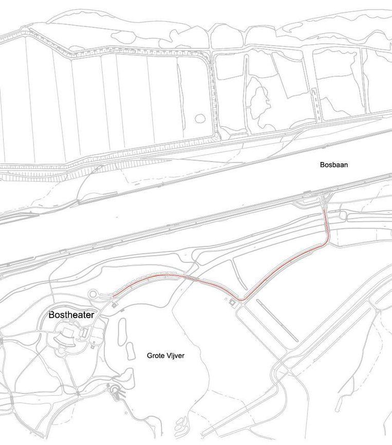 De rode lijn laat zien waar de verlichting tussen het Amsterdamse Bostheater en de Bosbaan komt. Beeld Gemeente Amsterdam