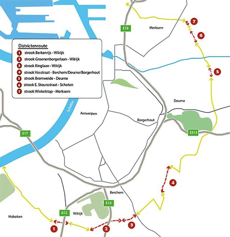 De kaart toont de zeven stukken die worden aangelegd.