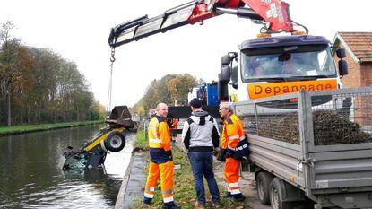 Graafmachine belandt in kanaal
