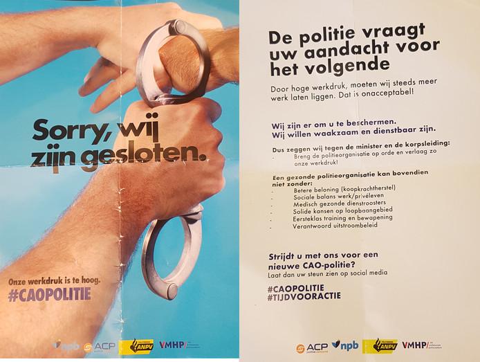 De flyer die werd uitgedeeld tijdens de politieactie in Eindhoven.