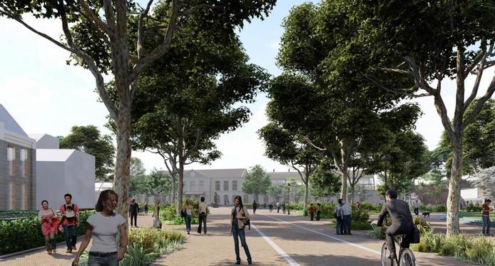 Het nieuwe ontwerp voor de Stationsweg in Zwolle, kijkend richting het nieuwe Stationsplein. Fietsers en voetgangers krijgen alle ruimte.