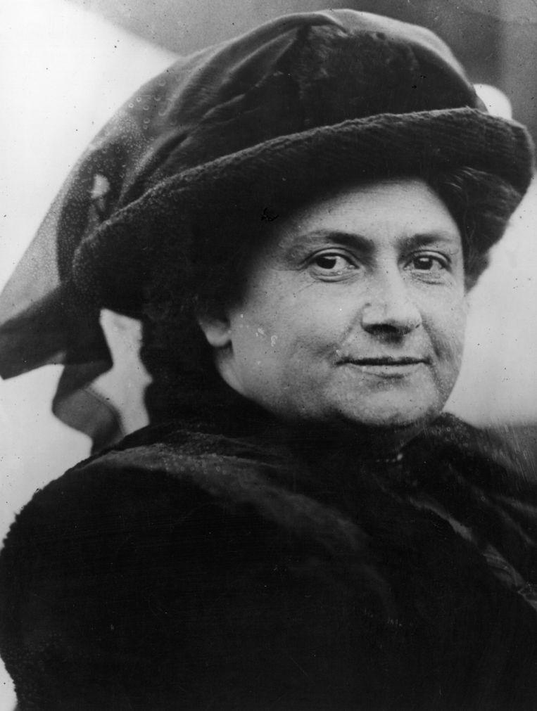 Maria Montessori in 1914. Ze werd geboren in 1870 en overleed in 1952 in Noordwijk aan Zee. Beeld Getty