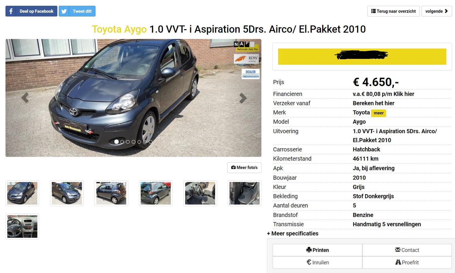 Advertentie voor een Toyota Aygo, zoals die gisteren op de website van Auto Westenenk stond. Een andere auto dan waarvan John Joosten de koop ontbond, zegt het bedrijf.