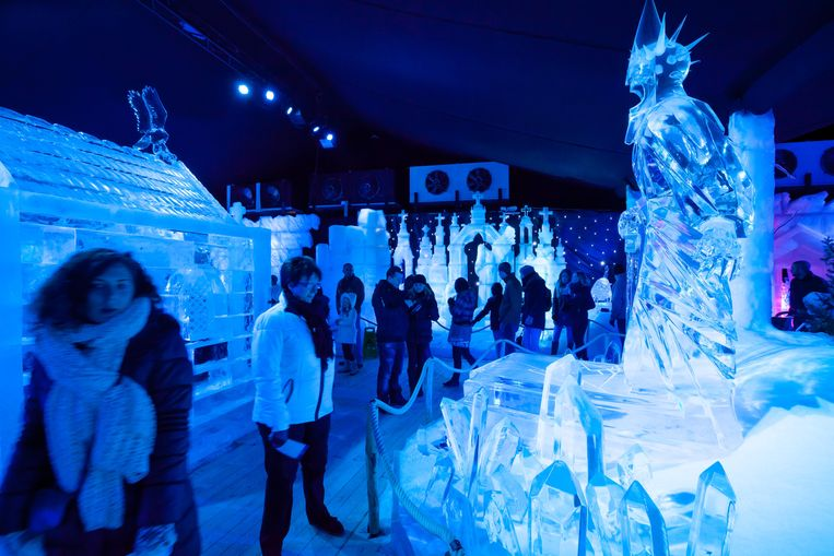 Een beeld van een eerdere editie van het ijssculpturenfestival, dat voortaan niet meer mag plaatsvinden in Brugge.