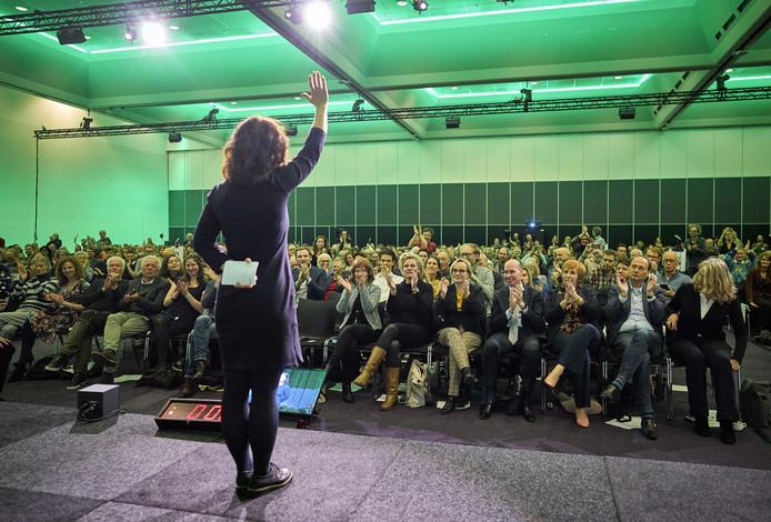 Esther Ouwehand tijdens het congres van de Partij voor de Dieren.