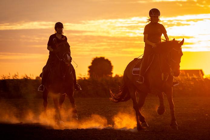 Twee meisjes rijden met hun paarden door het stoffige landschap in Goudswaard tijdens zonsondergang. Dergelijke foto's willen Silsa Frankfort en Petra Hoek de ouderen in quarantaine niet onthouden.