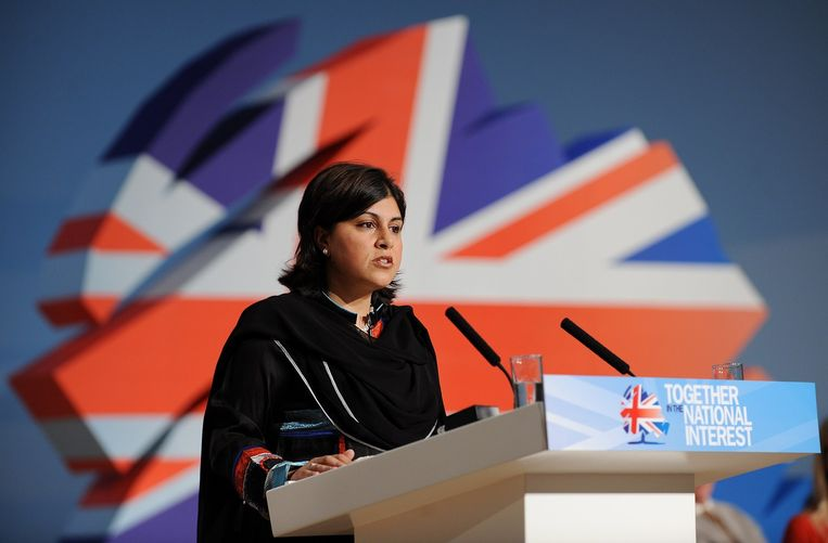 Sayeeda Warsi tijdens een toespraak in Birmingham in oktober 2010. Beeld afp