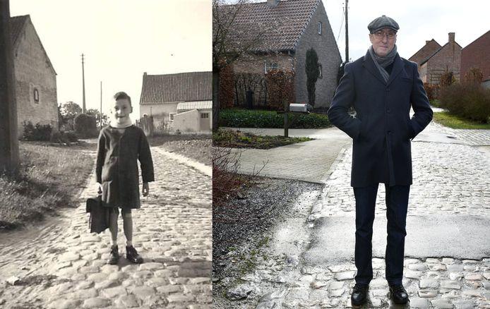 Inwoner Jan Quintens 60 jaar later op dezelfde plaats in de Bovenbosstraat in Oud-Heverlee. Er is veel veranderd, behalve de nu beruchte straat.