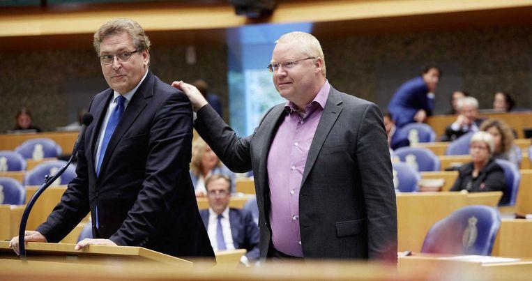 Roland van Vliet (rechts): 'Bij de financiële beschouwingen zullen alle collega's zien dat ik ook nog snap wat ik heb opgeschreven.' Beeld anp