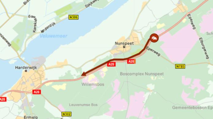 De file rond Nunspeet op de A28 liep snel op.