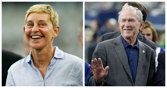 Ellen DeGeneres (links) en George W. Bush (rechts).