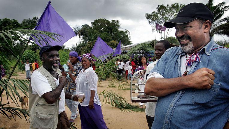 Desi Bouterse in 2005 op camppagne voor de parlementsverkiezingen. Twee jaar later begon het proces tegen hem vanwege de Decembermoorden. Beeld Guus Dubbelman/de Volkskrant