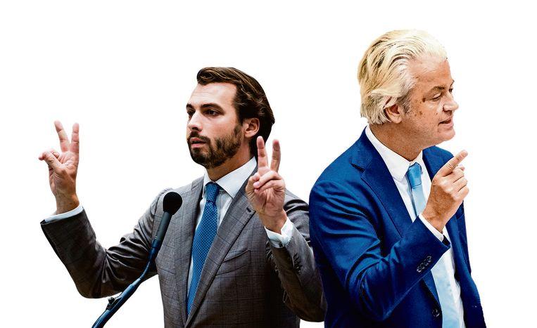 Thierry Baudet (FvD) en Geert Wilders (PVV). Beeld Freek van den Bergh / de Volkskrant