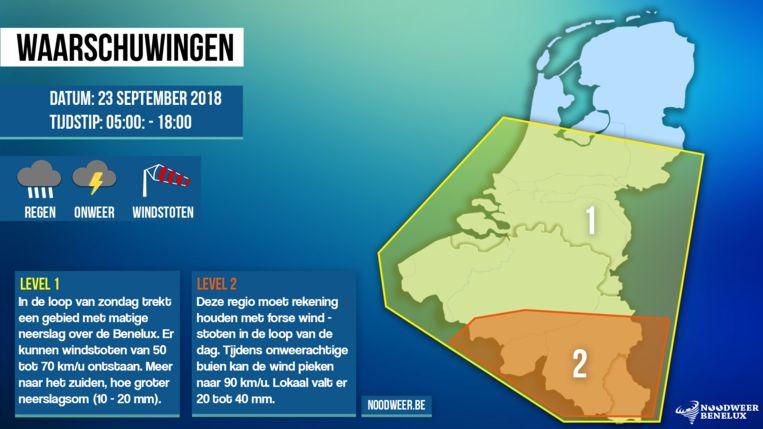De waarschuwingskaart voor wind voor 23 september.