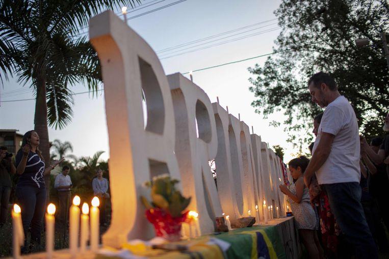 Een wake in Brumadinho voor de slachtoffers van de dambreuk.