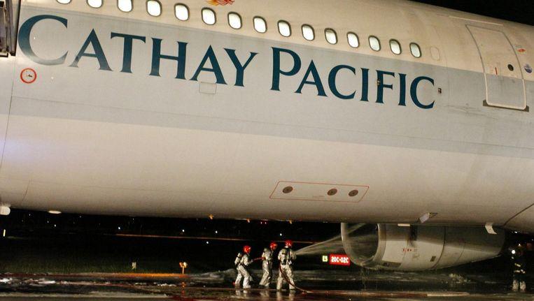 Vijf jaar geleden maakte een vliegtuig van Cathay Pacific ook al een noodlanding vanwege motorproblemen. Beeld reuters