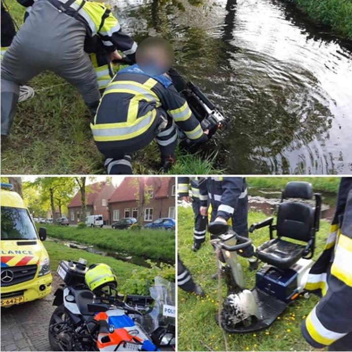 Scootmobiel te water in Heusden