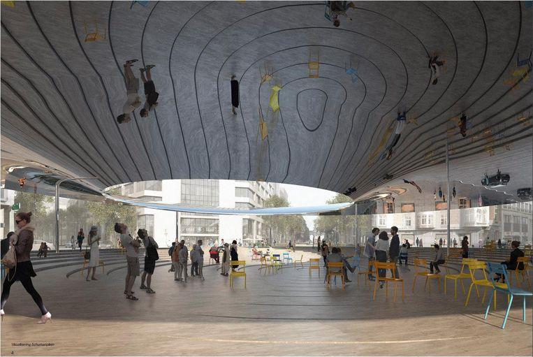 Het nieuwe Schumanplein moet een open plein met spiegelend dak worden.
