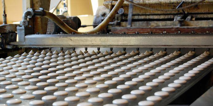 Een koekjesfabriek.