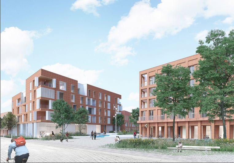 Een toekomstbeeld van de Ecowijk Gantoise, waar voorheen het Jules Ottenstadion van KAA Gent stond. De buren verzetten zich tegen hoogbouw, en tegen het aantal woningen.