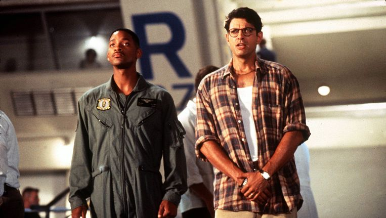 Will Smith en Jeff Goldblum in 'Independence Day'. Beeld 20th Century Fox