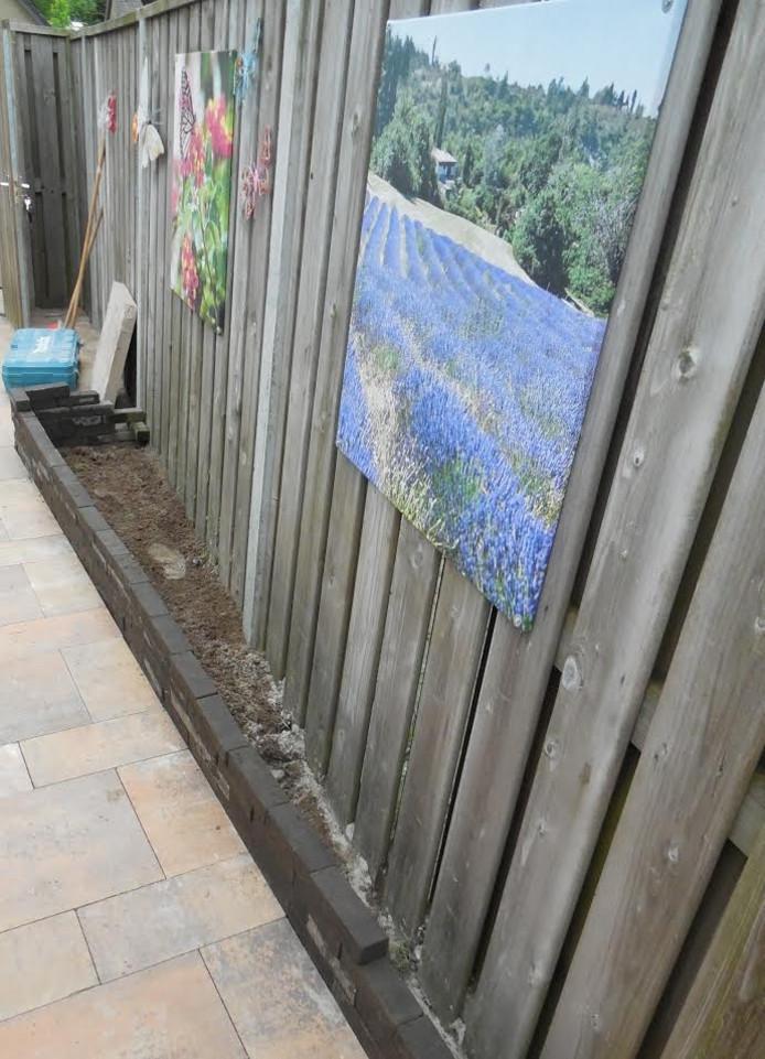 De smalle border langs het nieuwe tuinpad