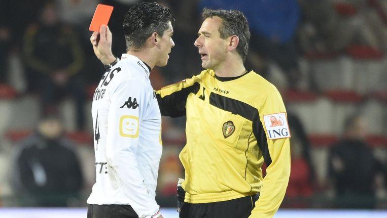 Seth De Witte kreeg rood tijdens de match op KV Kortrijk
