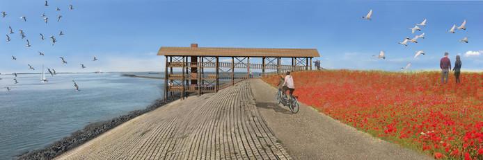 Het omstreden ontwerp van het door landschapsarchitecten Ro en Ad ontworpen gebouw aan de Westerscheldedijk bij Ossenisse-Zeedorp.