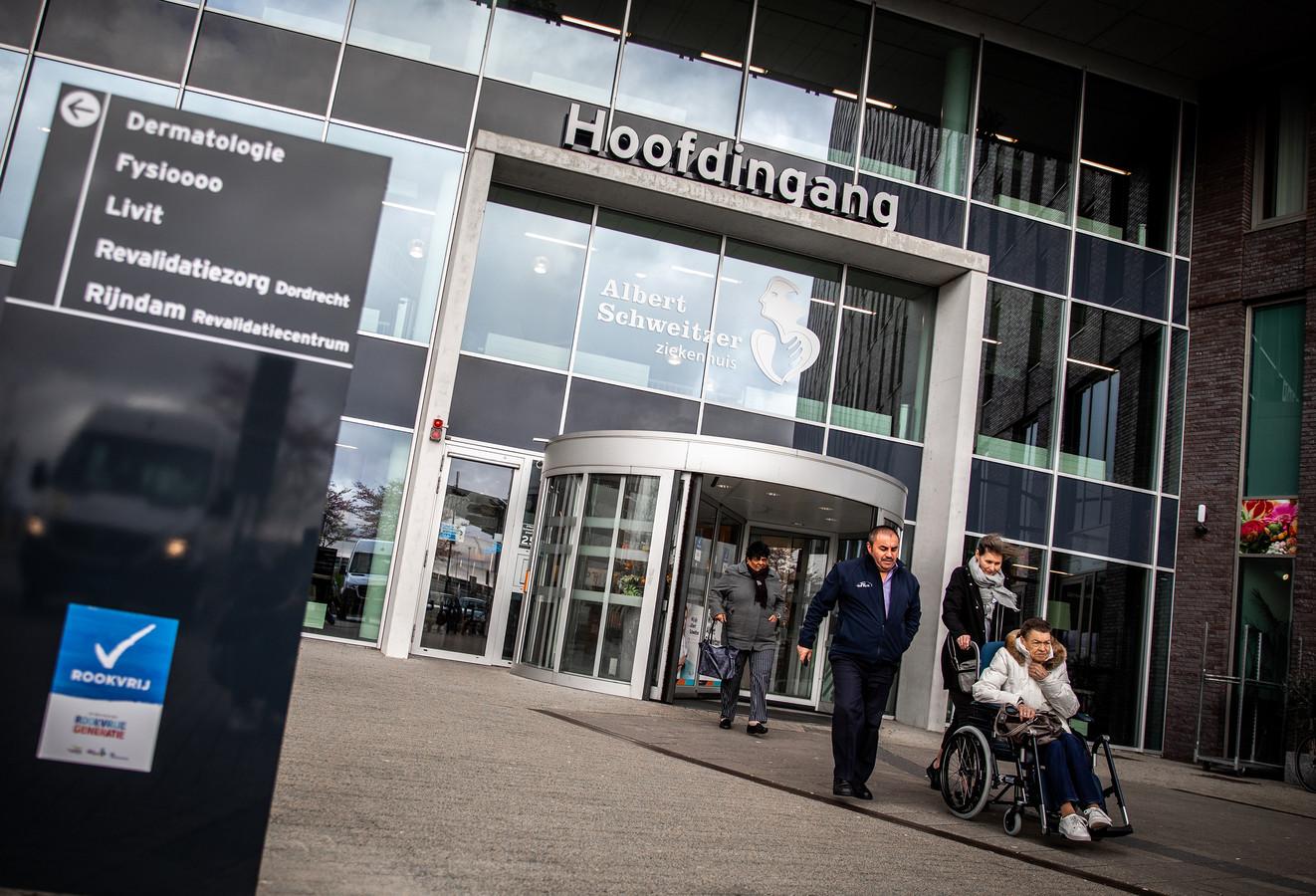 De hoofdingang van het Albert Schweitzer ziekenhuis in Dordrecht.