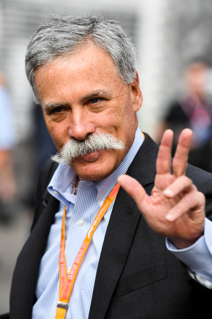 Formule 1-voorzitter Chase Carey afgelopen weekend in Mexico.