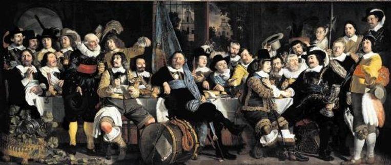 ¿Schuttersmaaltijd ter viering van de Vrede van Mÿnster¿ (1648), Bartolomeus van der Helst. (RIJKSMUSEUM AMSTERDAM) Beeld