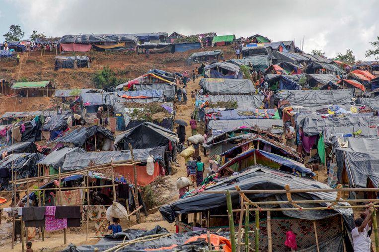 Krakkemikkige onderkomens van Rohingya-vluchtelingen in Bangladesh. Beeld ap
