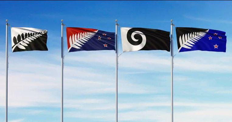 Een van deze vlaggen wordt de nieuwe vlag van Nieuw-Zeeland. Beeld govt.nz