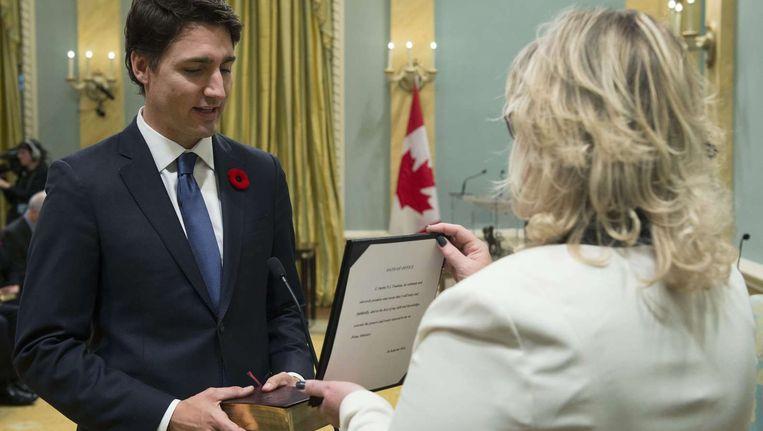 Premier Justin Trudeau bij zijn beëdiging. Beeld afp