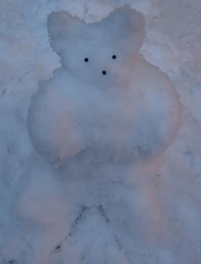 Marian Seegers fotografeerde een beer van sneeuw in Nijmegen.