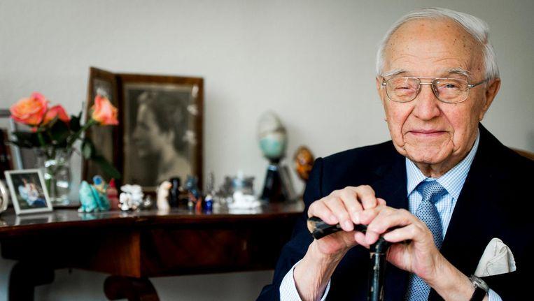 Piet de Jong in 2015, kort voor zijn honderdste verjaardag. Beeld ANP