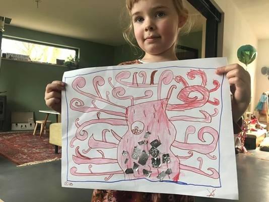 Wat het ook is, het is prachtig. Lola maakte deze tekening voor iemand die alleen thuis zit.